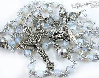 Unbreakable Moonstone Rosary confirmation gift white rosary catholic gift keepsake rosary wire catholic rosaries ladies rosary unbreakable