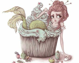 Minty Fresh - 8.5'' x 8.5'' Limited Edition Fine Art Print - Inspired by Mermaids, Fairytales, Pastel Hair and Cupcakes