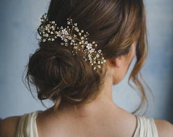 Bride hair vine - wedding headpiece - gold hair comb - bridal hair accessories - floral hair piece - boho bride - white beaded flower (#251)