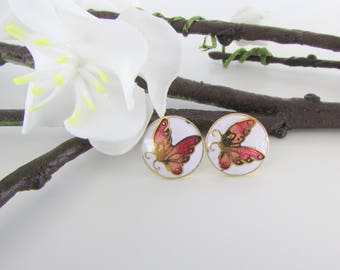 Petite Butterfly Stud Earrings - Vintage 1980s Cloisonne Enamel Jewelry