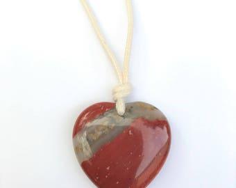 ORGANIC Gemstone Necklace / Mama Necklace - Poppy Jasper Heart on Certified Organic Cotton Cord (Adjustable)