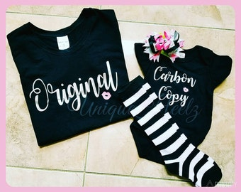 Matching Mommy and Daughter shirt set! - great for baby showers, birthdays, hospital gifts, mother's day, etc. Heat Transfer vinyl NOT paint
