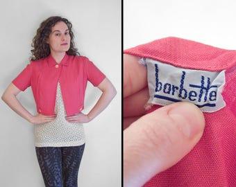 1940s BUBBLE Blouse Barbette Brand Split Front Collar Crop Top Carnation Pink