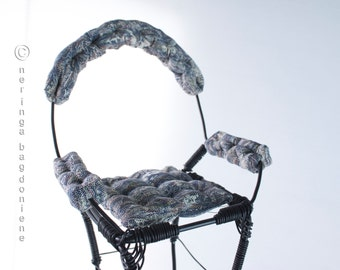 Wire display armchair for art dolls. Oversized tall and elegant.Pedestall.