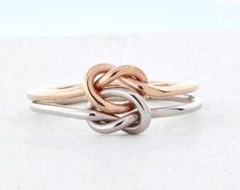 Double Knot Ring, 10K Rose Gold Ring, Two Toned Ring, Stacker Ring, Two Love Knots, Knot Promise Ring, Double Ring, Double Love Knot Ring