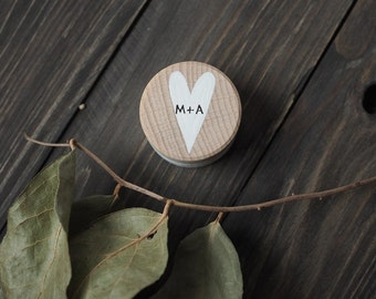 hand painted ring box - wedding ring bearer box - with initials - personalised - gift - wedding keepsake - engagement box - rustic wedding