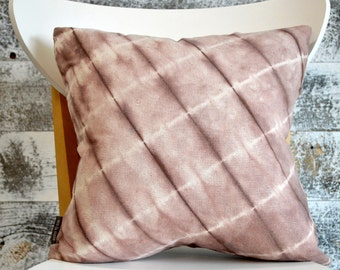 Modern Shibori Dyed Pillow Cover in Rosewood
