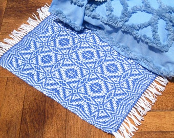 Dollhouse Rug  Hand Woven Miniature Medium Blue Dollhouse Rug Blue Miniature Rug Handwoven Maltese Cross Rug 12th Scale Blue Area Rug