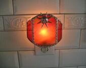 Stained Glass|Stained Glass Nightlight|Sun|Sunburst|Sunny|Sunlight|Orange|Home & Living|Lighting|Night Light|sHandcrafted|Made in USA