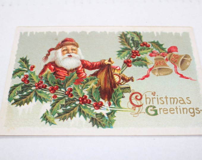 Antique Christmas Postcard Santa Claus & Bag of Toys