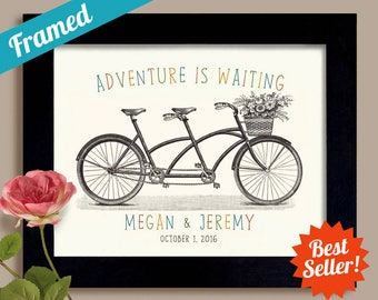 Adventure Awaits Wedding Gift for Newlywed Couple Wedding Sign Personalized Wedding Gift Tandem Bicycle for Two Framed Art Print