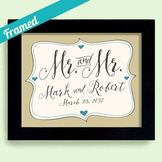 Personalised Wedding Gifts For Gay Couples : ... Gift Gay Men His and His Couples Names Personalized Gay Couple Gift