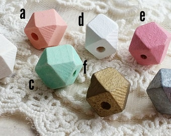 12 mm Octagonal Wooden Beads of Various Colors (.am)