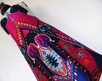 SALE:)) FRANCE . Baroque Gem! . Show Stopping Art Nouveau Print Midi Dress 70s M