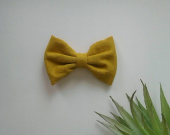 Hair bow mustard yellow girls clip modern eviely