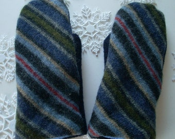 SALE!! Blue Striped Wool Sweater Mitten