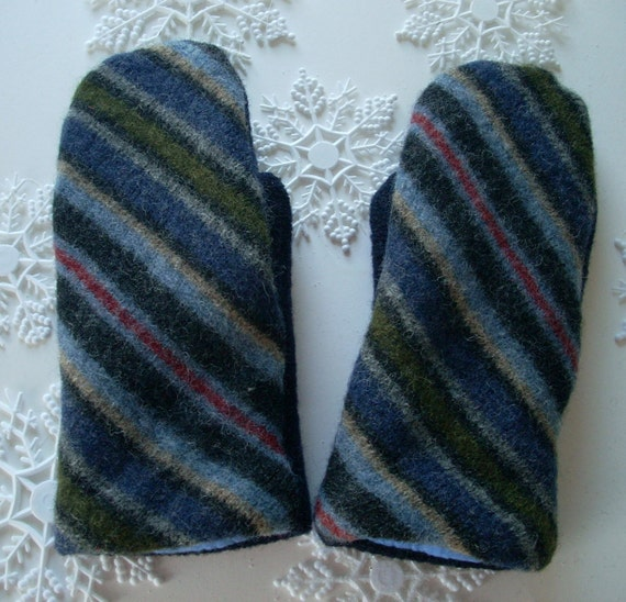 Blue Striped Wool Sweater Mitten