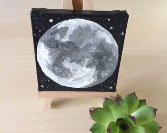 Full Moon Mini Painting with Mini Easel - Moon Phases - Lunar - Universe - Mini Art - Moon Painting - Full Moon - Acrylic - Star Painting