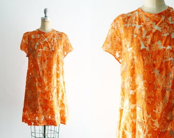 Vintage 1960s Orange Floral Dress 60s Mod Dress 20s Dress 60s Floral Dress 60s Mini Dress 20s Floral Dress Sheer 20s Dress XS Small M