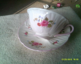 Shellely Oleander Pattern Tea Cup and Saucer