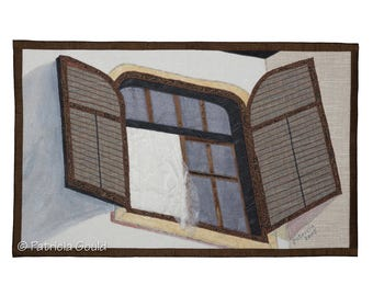 Breezy Morning - 3D mixed media wall hanging - window in Hungary