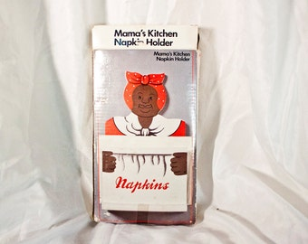 80s Mama's Napkin Holder - Kitchen paper towel container - NIB wall mount
