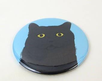 All Black Cat Refrigerator Magnet or Pin Back Button