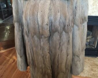 Vintage 1940s Grey Squirrel Fur Coat
