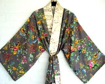 Kimono Taupe Spring Flowers Birds Elegant  Chic Long Wrap Dress Beach Kimono Lingerie kimono