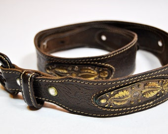 Vintage Bohemian Brown Tooled Leather Belt with Ornate Hammered Metal Plates