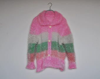 Vintage Shiny Pastel Striped Sweater Candyfloss Textured Metallic Sparkle Hand Knit Collared Jumper