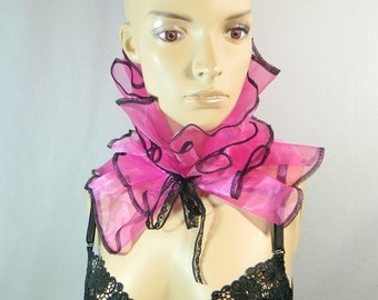 Bib Scarfette pink Organza ruffled collar Collier Scarf Choker Burlesque Harlequin Clown Costume
