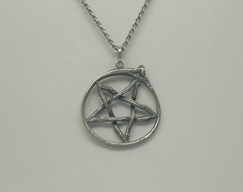 Twig and Snake Rib Pentagram Pendant - Silver