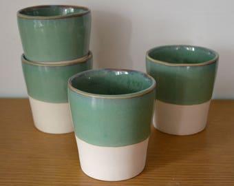 Celadon Basics Minimalist Cup Dinnerware set Simple mug Teacup tea cup Cocktail Cup juice cup Stemless Wine Glass wine cup SET OF 4