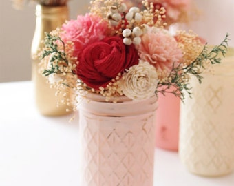 Small Floral Arrangement, Wedding Reception Centerpiece, Valentines Day, Home Decor, Wedding Decor, Sola Flowers, Silk Flowers