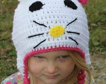 Crochet Kitty Ear Flap Hat