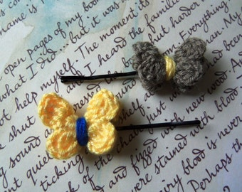 Set of Two Crochet Butterfly Hair Pins.