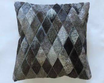 Cowhide Pillow - Gray Patchwork Cushion - 16 x 16 in