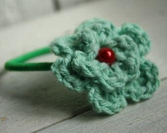 Hair Bobble in Mint with Glass Pearl Bead