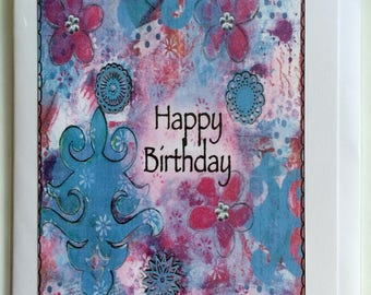Happy Birthday  - A5 Blank Greetings Card From Original Mixed Media Collage/Painting