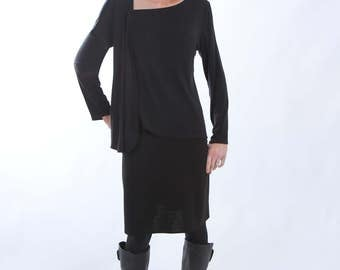 Black Jersey Top with Asymmetrical Neckline and Hemline with Elbow or Long Sleeves