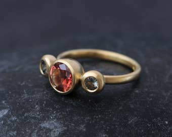 Three Stone Engagement Ring - Oregon Sunstone Engagement Ring with Montana Sapphires in 18K Recycled Gold - Sapphire Engagement Ring -