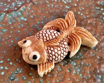 Bead #10...Koi Fish Bead, carved bone