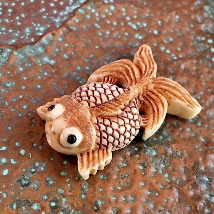 Koi fish bead 1 koi fish bead koi fish carved bone for Koi fish beads