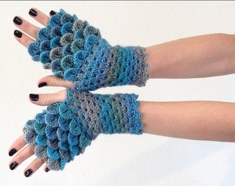 Dragon Scale Fingerless Gloves - sea-foam blue green gray ocean wrist hand arm warmers women crochet game of thrones khaleesi MADE TO ORDER