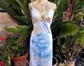 Upcycled/ Beach Cover Up/ Vintage Slip Dress/ Womens Baby Doll Dress/ Boho/ Fairy/ Surf Wear/ Boudoir/ Hippie/ Tie Dye Slip Dress