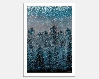 Winter Forest Art Print / Artwork / Landscape Illustration / trees / snow / blue / treetops