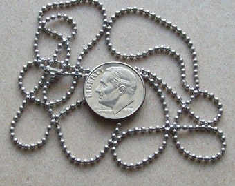 "Stainless steel bead ball necklace chain. 24"" long 1.5mm No 0 stainless steel bead ball chain."