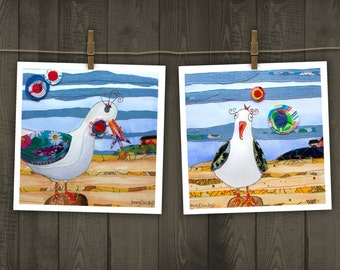 Seagulls - Cheeky Seagulls - Seagull at the Beach - Blank Card