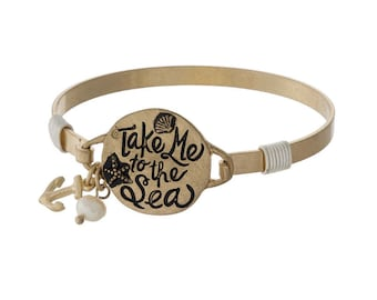 Take Me to the Sea Bracelet, Gold Anchor Bracelet, Gold Tone Stamped Bracelet, Sea Shell Bracelet